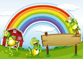 stock photo of orange frog  - Illustration of an empty wooden board with frogs and a rainbow in the sky - JPG