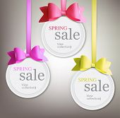 image of ribbon bow  - Set of sale and discount paper labels with colorful  bows and ribbons - JPG