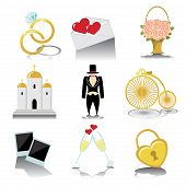 Design Wedding  Icons For Web And Mobile In Vintage Vector