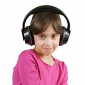 Girl Listening To Music On Headphones