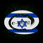 e-mail address AT symbol with Israeli flag on hex illustration