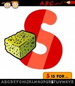 Letter S With Sponge Cartoon Illustration