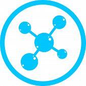 Molecule icon, scientific symbol. Science model isolated on white.