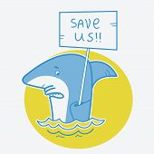 Save Sharks.vector Card Illustration On White