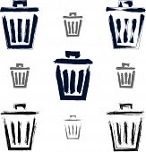Set of hand-painted trash can icons isolated on white background