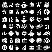 Money icons set, finance theme simplistic symbols collections.