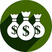 Money bag icon isolated. Green dollars illustration.