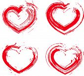 Set of hand-drawn red love heart icons, loving heart signs created with real hand-drawn ink brush
