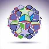 image of parallelogram  - Complicated kaleidoscope 3d sphere constructed from colorful geometric elements abstract illustration - JPG