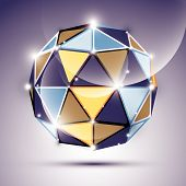 Abstract 3D gleaming sphere with geometric triangles