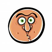 Funny Cartoon Face,  Illustration.