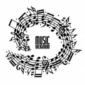 Black Rounded Stave With Musical Notes On White Background, Decorative Musical Notation.