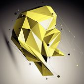 Colorful spatial technological shape, polygonal wireframe object placed over yellow background.