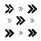 Set Of Hand-painted Rewind Signs Isolated On White Background, Simple Monochrome Rewind Icons
