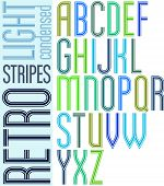 Poster retro light striped font, condensed uppercase letters on white background.