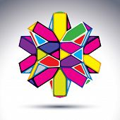 Rich 3D Fractal Psychedelic Figure Constructed From Triangles And Geometric Elements. Vector