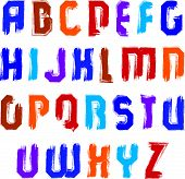 Handwritten contemporary vector uppercase letters, doodle hand-painted alphabet, colorful capital le