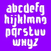 Vector alphabet letters set, hand-drawn unusual script, white brushed small letters.