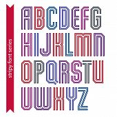 Red Geometric Font Created From Parallel Straight Lines. Narrow Stylish Capital Letters, Best