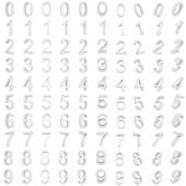 picture of arabic numerals  - Arab 3d white figures with different angles of rotation - JPG