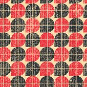 Colorful Worn Textile Geometric Seamless Pattern, Contrast Abstract Infinite Retro Background.