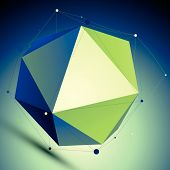 Colorful triangular abstract 3D illustration, vector digital lattice complicated object placed over