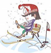 boy putting on skis