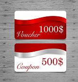 Gift Cards, sale coupon, voucher with red ribbons and silver ribbons. Vector illustration.