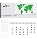 Simple 2015 calendar, April. Vector illustration.