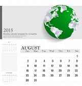 Simple 2015 calendar, August. Vector illustration.