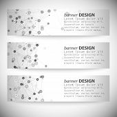 Set of horizontal banners. Molecule structure, gray background for communication, vector illustratio