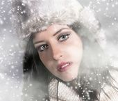 Young happy woman, winter portrait.