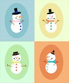 Four different snowman in different colors frame.