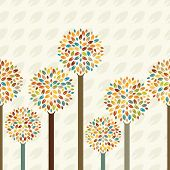 Seamless  Vector Background With Tree And Leaves