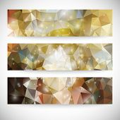 Set of colored abstract backgrounds, triangle design vector illustration