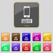 Computer keyboard and smatphone Icon. Set colourful buttons. Vector