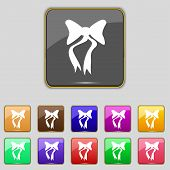 graphical decorative bows. Set colourful buttons. Vector