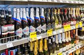 Borovichi, Russia - July 11, 2014: Showcase Alcoholic Beverages At The Grocery Store In Small Russia