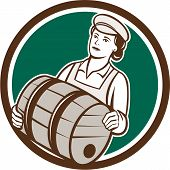 picture of keg  - Illustration of a female bartender worker carrying keg set inside circle on isolated background done in retro style - JPG