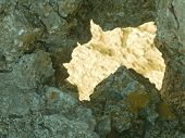 Big thorough crack in rock