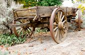 vintage wooden freight hauling wagon