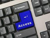 Keyboard -  blue key Access, closeup