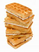 Pastry Viennese wafers, isolated on white background