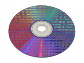 Bytes on computer compact disk, isolated on white background