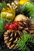 Pine cone close-up, christmas background