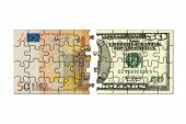 Euro and dollar puzzle, isolated on white background