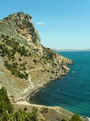 Rock and sea in Crimea, abstract nature landscape