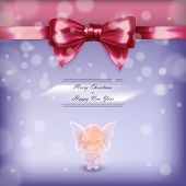 stock photo of christmas angel  - Christmas card with angel and red bow in vector - JPG