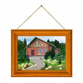 Painted house (my picture) in frame isolated on white background