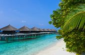 Water bungalows on a tropical island, travel background